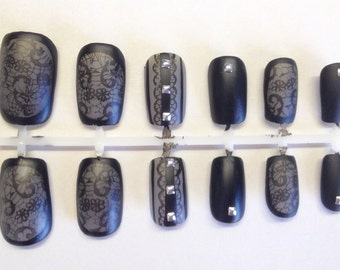 Sheer Black Lace Matte Studded Press On False Nails Fake Nails