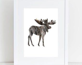 Wall Print, Printable Wall Art, Moose Print, Wood Moose Silhouette Print, Moose, Moose Wall Print, Printable Moose, Moose Silhouette