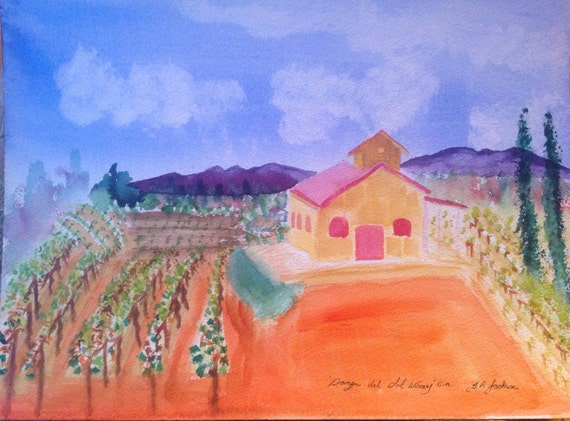"Title 'Danza del Sol Winery' California USA by Canadian artist T.R.Jackson. Van Gogh style original water colour 12x16 ""300lb  Arches"