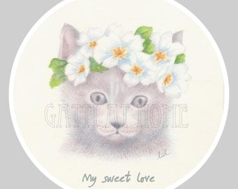 My sweet love - illustration - Cat portrait
