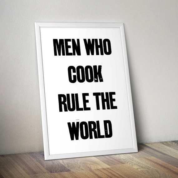 Manly Wall Decor items similar to men who cook poster art print wall decor with