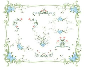 Digital Flower Frame Clipart Green Frame Clip Art Blue Floral Frame Border Clipart Pink Flower Frame Border Clipart Wedding Invitation 0138