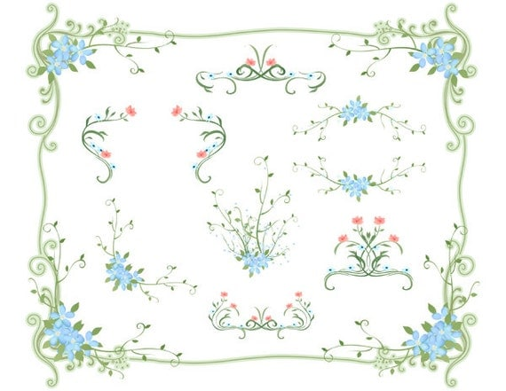 free green floral frame - photo #27