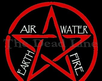 Pentagram T-Shirt, Wiccan, Witchcraft, Spirit, Air, Water, Earth, Fire