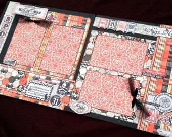 12x12 Halloween Scrapbook, 12x12 Premade Halloween Scrapbook, 12x12 Premade Scrapbook pages, 12x12 Halloween Page Kit, 12x12 Scrapbook Page