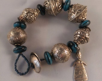 Unique Large Silver Bead Bracelet