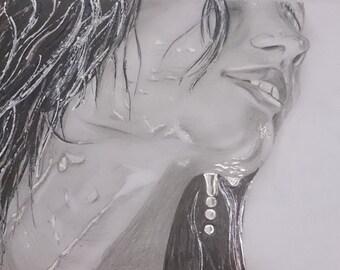 "RAIN - Original drawing - Drawing - 24 x 21 cm / 9.4 ""x 8, 3 ' in - Amgros art"