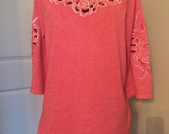 Bob Mackie Wearable Art Rose Cur-out Sweater, size XS