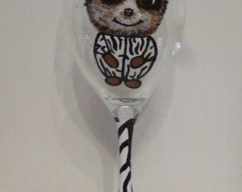 Hand Painted Meercat Wine Glass - Can be Personalised