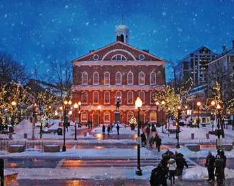 Boston Art Faneuil Hall Boston Prints Christmas Art Quincy