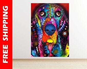 Basset wall decal nursery, pop art Basset Hound dog wall sticker abstract dog poster modern art print dogs gift idea art by dean russo dr094
