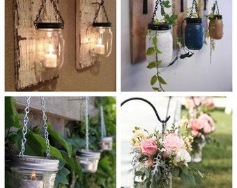Mason jar hanging lids 3 pack! Mason jar Hangers