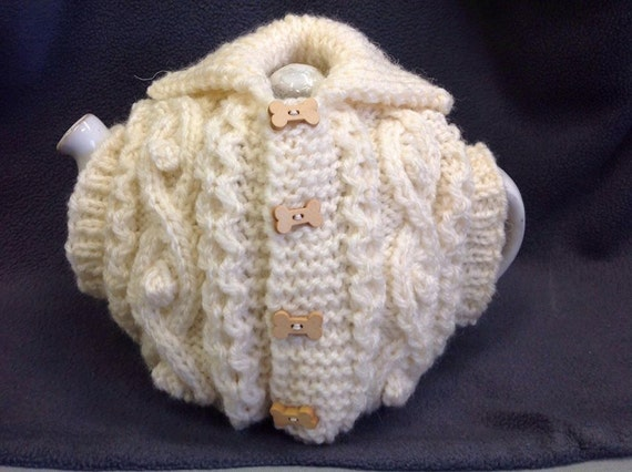 Hand Knitted Tea Cosy Patterns : Hand Knitted Aran Waistcoat Tea Cosy Knitting by DroppedStitchUK