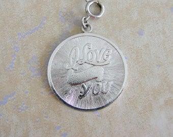 Silvertone I Love You Large Round Vintage Bracelet Charm Engraveable