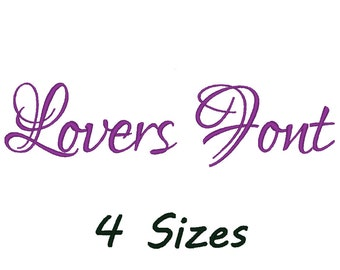 Lovers Font embroidery machine. 4 SIzes.