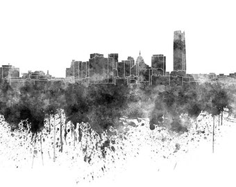 Oklahoma City skyline in watercolor on white, 8 monochrome colors, and full color 8x10 in. to 12x16 in. Poster Wall art Print Art - SKU 0912