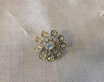 Vintage Silver Button with Diamond Color Accents