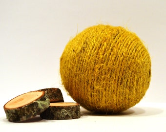 "Decorative vase filler set of 2 balls, yellow decorative ball, yellow vase filler, natural home decor, d=7 cm (2,75""), jute twine ball"