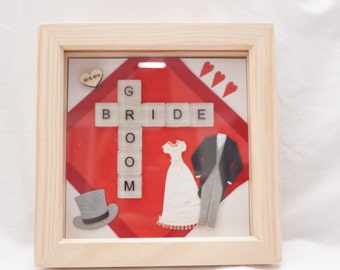 Handmade Bride and Groom tile frames