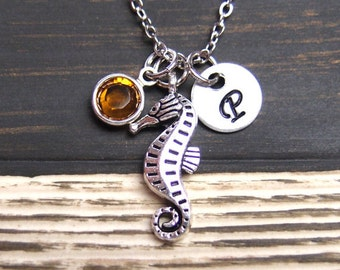 initial necklace, tiny seahorse necklace, birthstone necklace, silver seahorse pendant , long necklace option, ocean jewelry