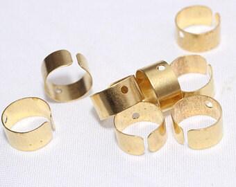 10 pcs - Gold Ear Cuff - One Hole - Brass Ear Cuff - Gold Cuff - Brass Cuff - Jewelry Making - Ear Cuff Supplies