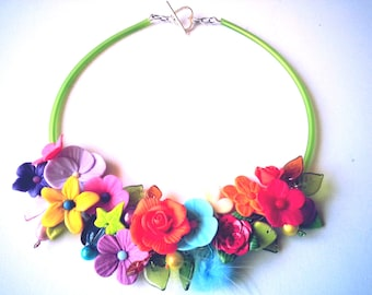 Spring necklace, flowers in polymer handmade, beads miracles, Pompom, very romantic, modern, glass beads.