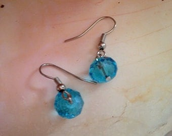 Swarovski Crystal Aquamarine Faceted Drop Earrings