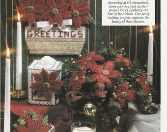 Pretty Poinsettia Set for Christmas in Plastic Canvas