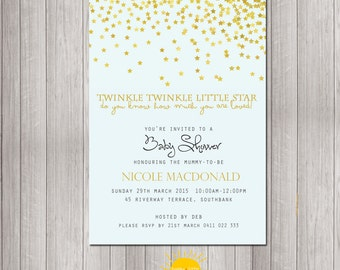 Baby Shower Invitation Personalised Neutral Boy or Girl Print your Own Stars Twinkle Twinkle Little Star