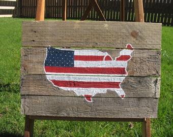 United States Flag Outline - Pallet Sign