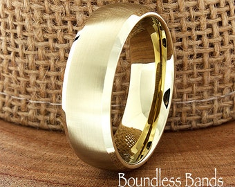 Gold Tungsten Wedding Band Domed High Polished Customized Tungsten Band Any Design Laser Engraved Ring Mens Tungsten Ring Anniversary Ring
