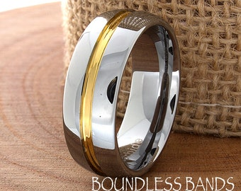 Wedding Band Single Grooved Gold High Polished Domed Ring Tungsten Band Mens Ring Mens Wedding Ring Laser Engraving Anniversary Band New 8mm