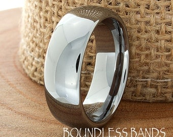 Tungsten Wedding Band Domed High Polished Tungsten 7mm Personalized Laser Engraving Mens Womens Tungsten Ring Anniversary Band Couple Ring