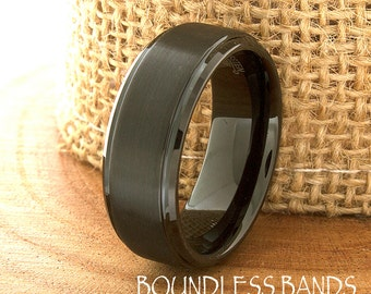 Black Tungsten Wedding Band Stepped Edges Customized Tungsten Ring 8mm Laser Engraved Mens Womens Black Band Anniversary Promise Ring New