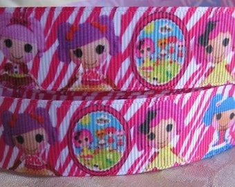 "Lot of 2 Metres of 7/8"" Grossgrain Ribbon - Lalaloopsy - For Craft"