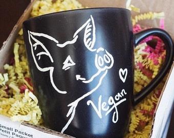 Black Version Vegan Piggie Coffee/Tea Mug