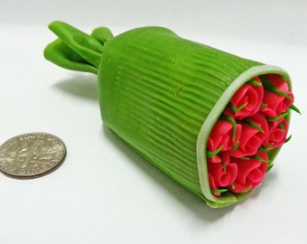 Dollhouse Miniature Clay Flowers Pink Roses bouquet cute