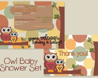 Owl Baby Shower Set | Invitation & Thank You Cards | PERSONALIZED
