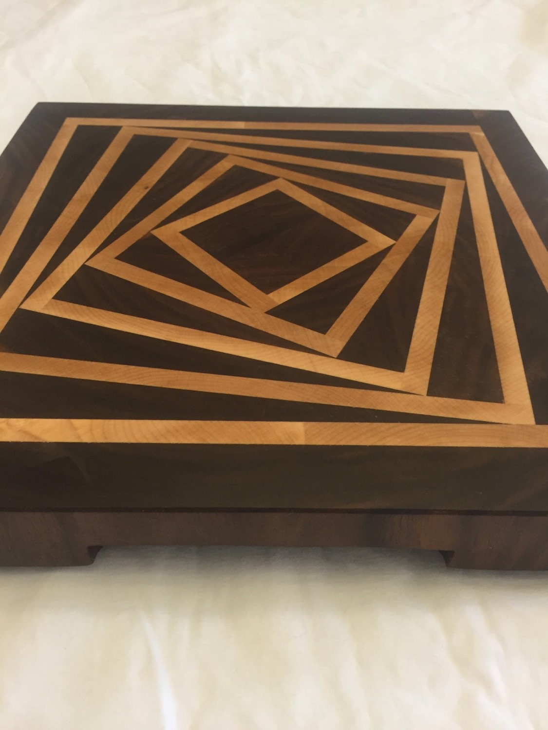 Wood End Grain Cutting Board And Serving Tray Made Of Hardwood