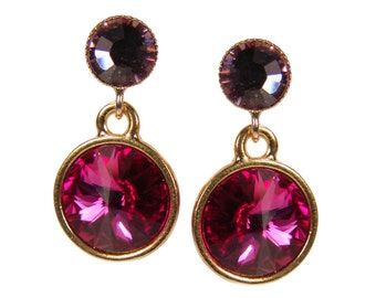 Crystal Stud Earrings. Fuchsia-violet. Gold plated