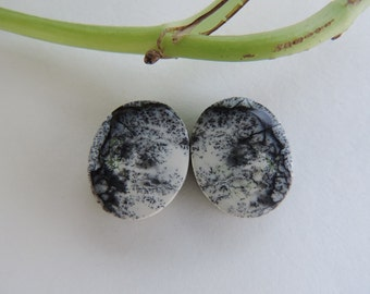 Dendrite Opal lovely matching pair of cabochons for earrings
