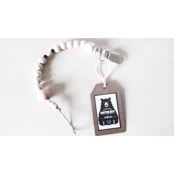 Attache t tine sucette en perles g om triques en bois - Perle en bois pour attache tetine ...