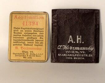 August Herzmansky Legitimationspiegel - 1898 - antique vip customer card Austria