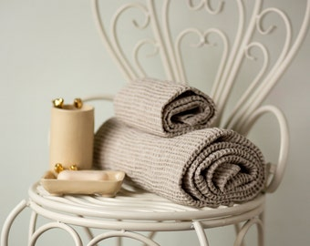 Flax Linen Bath Towels - Natural Beige Linen Waffle Bath Towel - Organic Bath Towels - Set of two - Gift ideas
