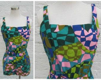 Vintage 60s sunsuit, vintage playsuit, op art romper, bright pattern romper, nos sunsuit, elisabeth stewart playsuit, mod romper