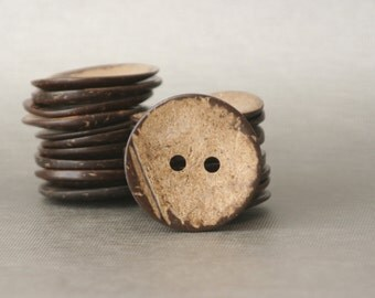 "3 Large 5cm Coconut Shell Buttons Natural 2"" Coconut Buttons with Two Holes"
