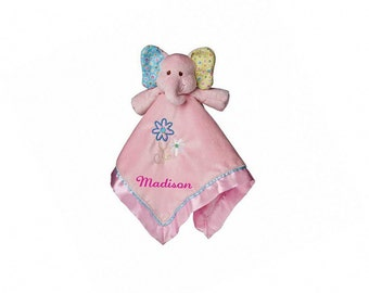 Personalized Ella Bell Elephant Baby Blanket - 17 Inch - Hot Pink Embroidery