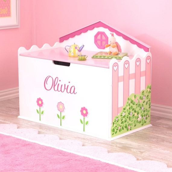 personalized hearts and blooms toy box by dibsies on etsy. Black Bedroom Furniture Sets. Home Design Ideas