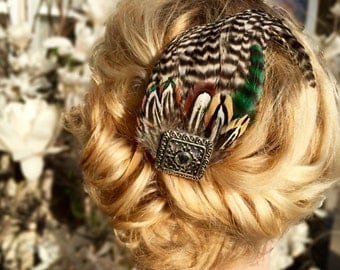 SALE Pheasant Feather Hair Clip with Square Rhinestone Jewel