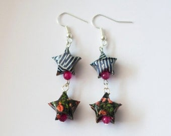 Recycled Magazine Earrings - One of a kind - Upcycled magazine origami star earrings